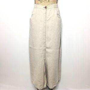 Flax Cream Linen Button Up Maxi Skirt